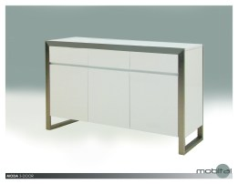 Moda 3 Door Buffet High Gloss White with Brushed Stainless Steel