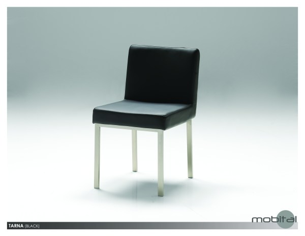 Tarna Dining Chair Black Leatherette with Polished Stainless Steel Set of 2