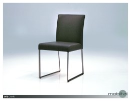 Tate Dining Chair Black Leatherette with Brushed Stainless Steel Set of 2