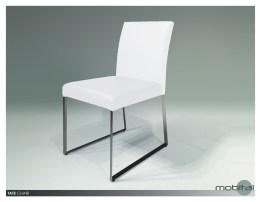 Tate Dining Chair Grey Leatherette  with Brushed Stainless Steel Set of 2