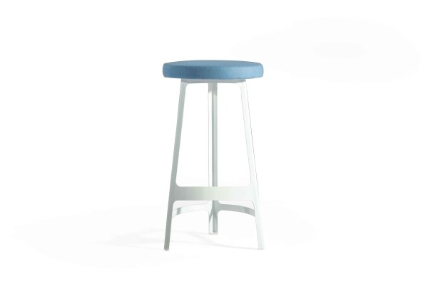Brunch Counter Stool Blue Fabric Cushion with White Powder Coated Frame
