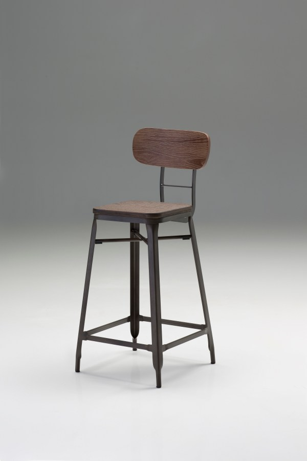 Gates Counter Stool Bamboo Wood Seat with Bronze Powder Coated Steel Set of 4