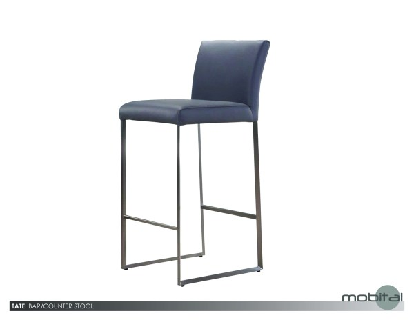 Tate Counter Stool Grey Leatherette  with Brushed Stainless Steel