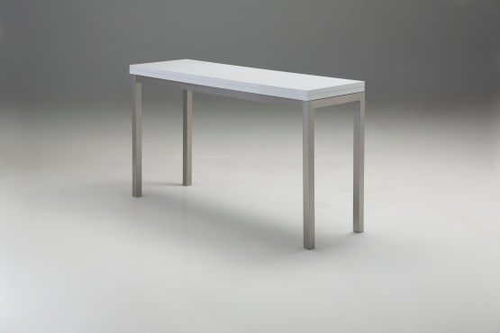 Alure Dining Table High Gloss White with Brushed Stainless Steel