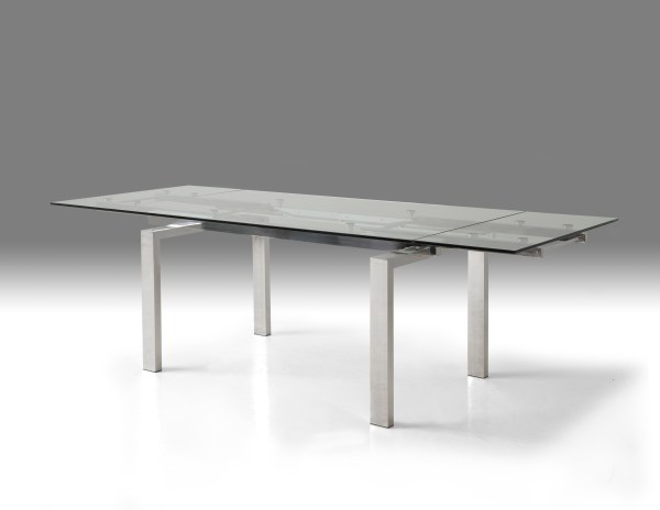 Cantro Extending Dining Table Clear Glass with Brushed Stainless Steel