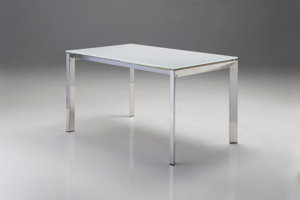 Cantro Extending Dining Table Clear Glass with Polished Stainless Steel