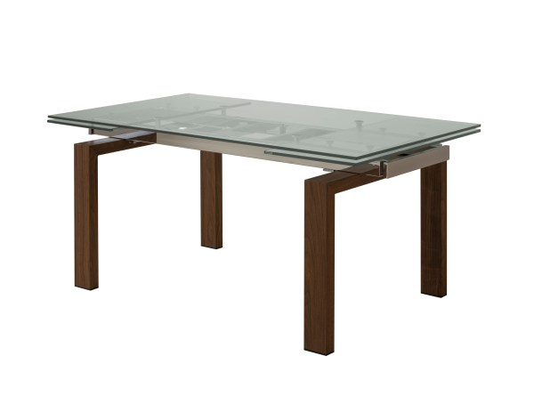 Remi Dining Table Natural Walnut with Brushed Stainless Steel