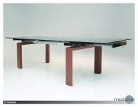 Tottenham Extending Dining Table Smoke Glass with Walnut Veneer Legs