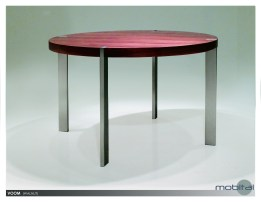 Voom 47″ Round Dining Table Walnut with Brushed Stainless Steel