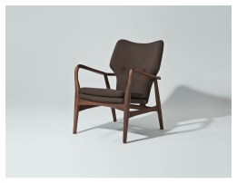 Inge Lounge Chair Dark Grey Fabric with Ash Stained Walnut Wood
