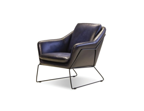 Jasper Lounge Chair Midnight Blue Leather with Light Black Powdered Coated Steel