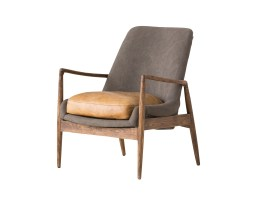 Reynolds Lounge Chair Ash Grey Fabric and Antique Black Distressed Leather Seat with Black Matte Frame