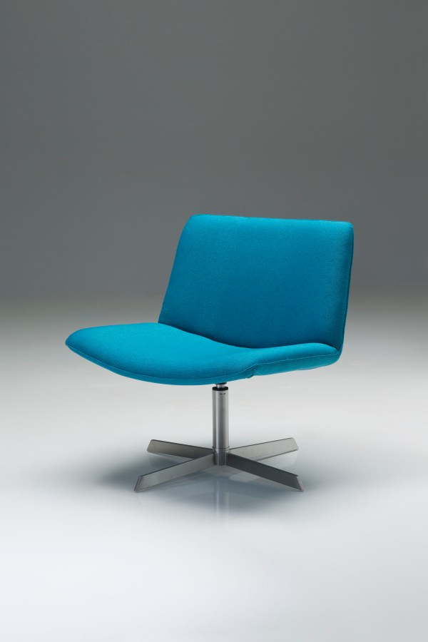 Valletta Swivel Lounge Chair Blue Fabric with Brushed Stainless Steel