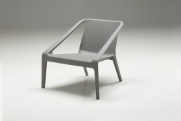 Wakefield Lounge Chair Grey Fabric with Walnut Wood