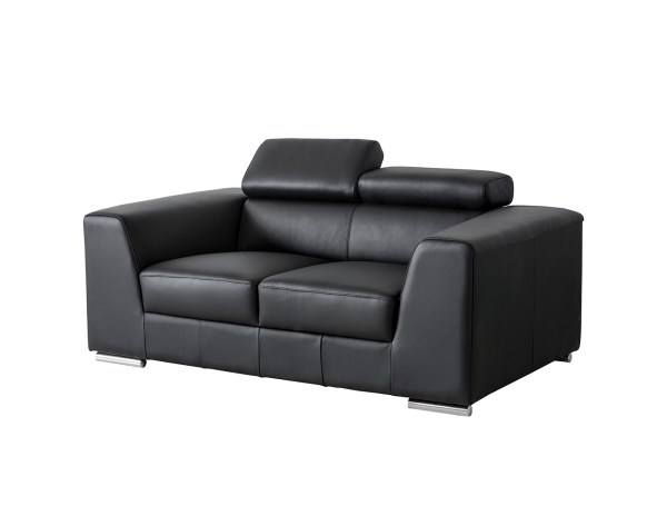 Icon Love Seat Black Premium Leather with Side Split