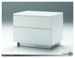 Savvy 2 Drawer Night Table High Gloss Light Grey with Brushed Stainless Steel