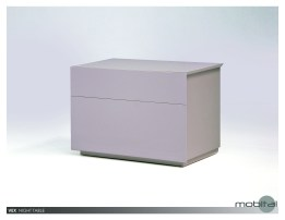Savvy 2 Drawer Night Table High Gloss White with Brushed Stainless Steel