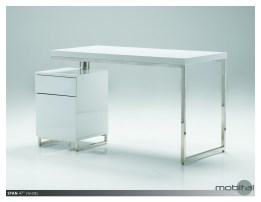 Span 47″ Desk High Gloss White with Brushed Stainless Steel