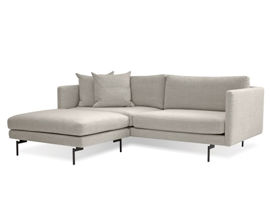 Tux Sectional Light Grey Fabric with Black Power Coated Steel