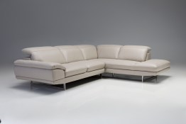 Synchro RSF Sectional Titanium Grey Top Grain Leather with Side Split