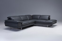 Uptown RSF Sectional Light Grey Premium Leather with Side Split