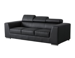 Deklan 3 Seater Sofa Blue Fabric with Black Wooden Legs
