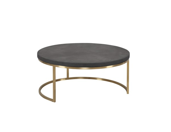 Atlas 23″ Round Coffee Table Black Spanish Nero Marquina Marble with Gold Polished Brass Frame
