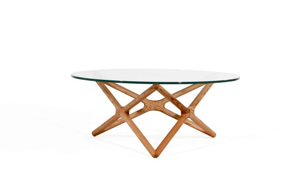 Quasar Coffee Table Clear Glass with Ash Stained Light Walnut