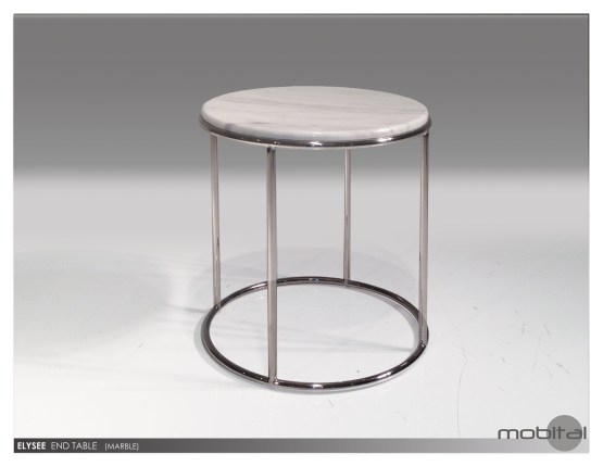 Double Decker 24″ Diameter Large End Table American Walnut Veneer Tops with Polished Stainless Steel Frame