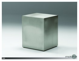 Elysee End Table White Volakas Marble with Polished Stainless Steel