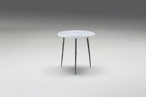Kaii 13″ Low End Table Grey Italian Marble with Black Iron Legs