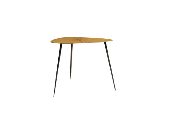 Kubo End Table Natural Walnut with Stainless Steel