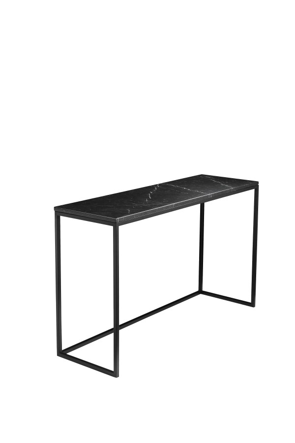 Onix Sofa Table Black Nero Marquina Marble with Black Powder Coated Steel