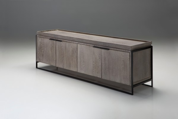 Brando 39x16x18 TV Stand High Gloss Black and Natural Walnut Veneers with Polished Stainless Steel