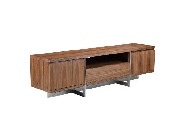 Remi Sofa Table Natural Walnut with Brushed Stainless Steel