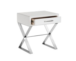 CASA END TABLE – WHITE LEATHER