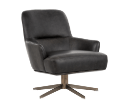 WILLA SWIVEL CLUB CHAIR – ANTIQUE BRASS – VAIL CHARCOAL LEATHER