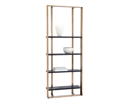DALTON BOOKCASE – SMALL (35.5″ W) – ANTIQUE BRASS – BLACK