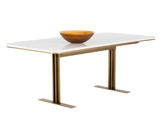 AMBROSIA DINING TABLE – WHITE MARBLE – 79″
