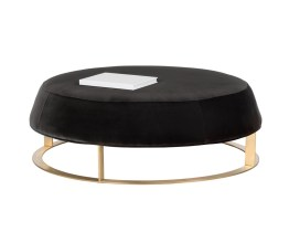 CAVO OTTOMAN – LARGE – BRUSHED YELLOW GOLD – GIOTTO SHALE GREY FABRIC
