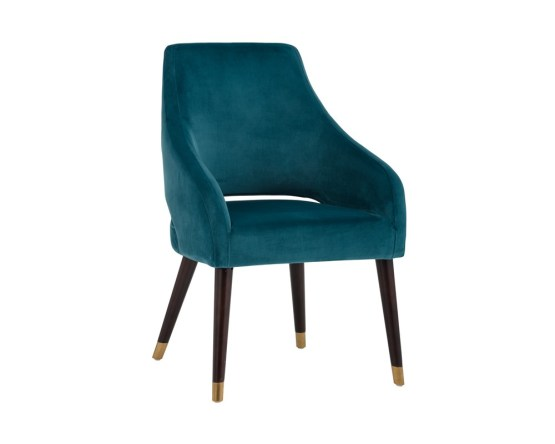 ADELAIDE DINING CHAIR – ANTIQUE BRASS – TIMELESS TEAL FABRIC