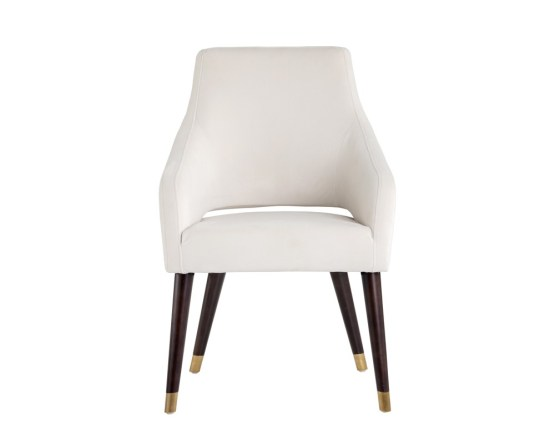 ADELAIDE DINING CHAIR – ANTIQUE BRASS – CALICO CREAM FABRIC