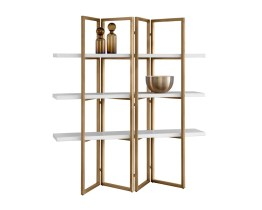 HALSTON BOOKCASE – ANTIQUE BRASS – WHITE CONCRETE