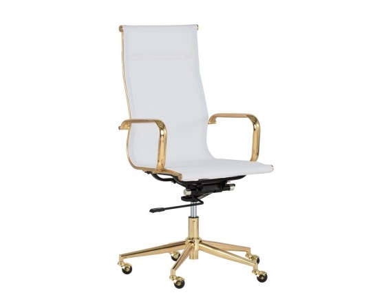 ALEXIS OFFICE CHAIR – GOLD – WHITE