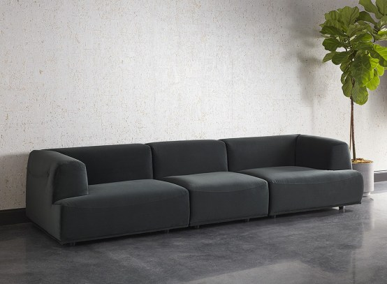 DARREN SECTIONAL – ARMLESS CHAIR – SMOKESCREEN GREY FABRIC