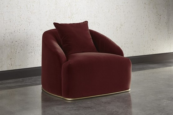 ASTRID CHAIR – ANTIQUE BRASS – MERLOT FABRIC