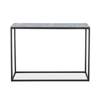 Indigo Glass Console Table – Black Marble