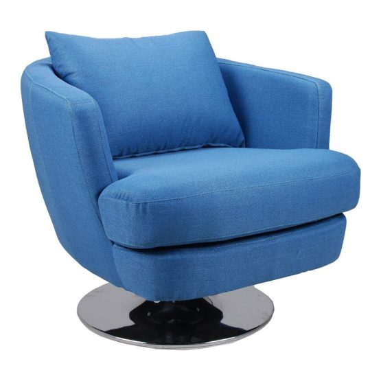Penny Fabric Swivel Chair Blue