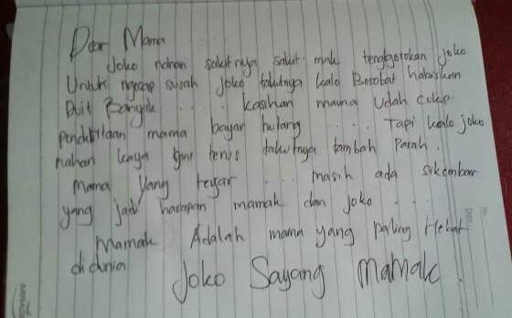 Surat wasiat Joko yang ia tulis sebelum gantung diri untuk sang ibu.