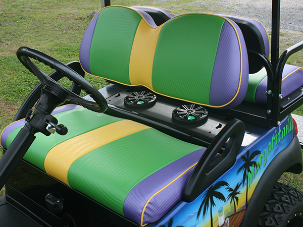 Custom Airbrushed Club Car Precedent Golf Cart Margaritaville front seat detail